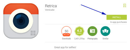 Install Retrica App on Pc