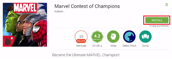 Install Marvel Contest of Champions for Pc on Windows 10,8,7